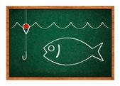 Fishing drawing — Stock Photo