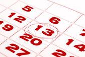 Thirteenth day in calendar detail — Stock Photo