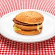 Hamburger on white plate - Stock Photo