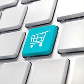 Nákupní košík klíč počítače — Stock fotografie
