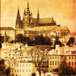Stock Photo: Prague castle, vintage editing