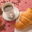 Coffee with croissant and cinnamon - Stok fotoraf