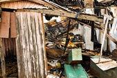 Huis platgebrand — Stockfoto