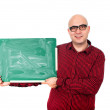 Man with chalkboard — Stock Photo