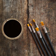 Paint brushes and can — Stock Photo