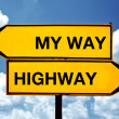 My way or the Highway, opposite signs — Stock Photo