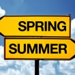 Spring or summer opposite signs — Stock Photo