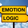 Постер, плакат: Emotion or logic opposite signs