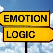 Stock Photo: Emotion or logic, opposite signs