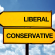 Stock Photo: Liberal or conservative, opposite signs