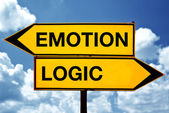 Emotion or logic, opposite signs — Stock Photo