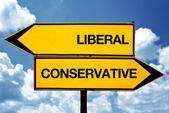 Liberal or conservative, opposite signs — Stock Photo
