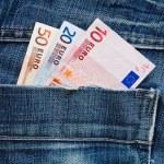 Euros in pocket — Stock Photo
