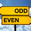 Odd or even, opposite signs — Stock Photo