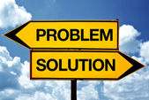 Problem or soultion, opposite signs — Stock Photo