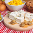 Feta cheese with mushrooms — Stock Photo