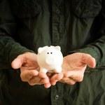 Постер, плакат: Piggy coin bank in hands