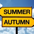 Summer or autumn opposite signs — Stock Photo