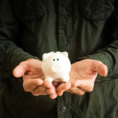 Piggy coin bank in hands — Stock Photo
