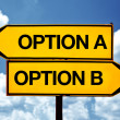 Option A or Option B, opposite signs — Stock Photo