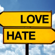 Love or hate, opposite signs — Stock Photo