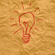 Idea light bulb on paper — Stockfoto