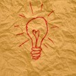 Idea light bulb on paper — Stock Photo