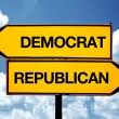 Democrat or republican, opposite signs — Stock Photo #31734481