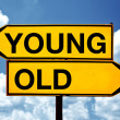 Young or old, opposite signs — Stock Photo