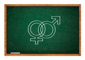 Male and female sex symbol on green chalkboard — Foto de Stock