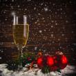 Happy New Year. White wine and christmas balls — Stock Photo