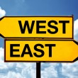 East or west, opposite signs — Stock Photo