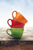 Multi Colored Coffee or Tea Cups — Stock Photo