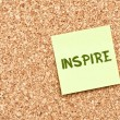 Stock Photo: Inspire on Cork board with Note Paper
