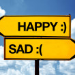 Happy or sad, opposite signs — Stock Photo