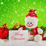 Merry Christmas. Christmas balls and wool snowman — Stock Photo