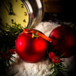 Christmas balls and vintage clock — Stock Photo