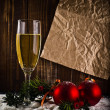 Happy New Year. White wine and christmas balls — Stock Photo #33921935