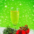 Happy New Year. White wine and christmas balls — Stock Photo #34270087