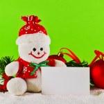 Christmas balls and wool snowman — Stock Photo #34797121