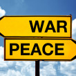 War or peace, opposite signs — Stok fotoğraf