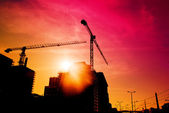 Construction site in sunset — Stock Photo