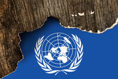 UN flag on Crumpled paper texture — Stock Photo