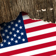USA flag on Crumpled paper texture — Stock Photo