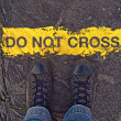 Do Not Cross The Line, On the Border — Stock Photo