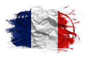 France flag on Crumpled paper texture — Stock Photo
