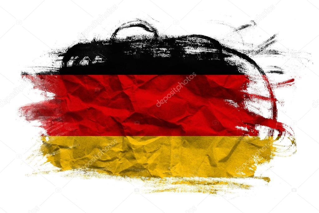 Bandiera della germania sulla trama di carta stropicciata - Bandiera della pagina di colorazione della germania ...