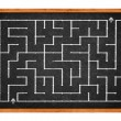 Labyrinth on chalkboard — Stock Photo