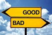 Good or bad, opposite signs — Stock Photo