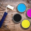 CMYK colors in tin cans — Stock Photo